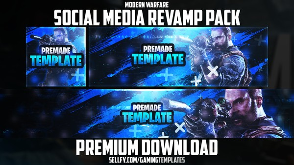 Modern Warfare - Social Media Revamp Pack #1 - YouTube Banner, Twitter Header & Avatar