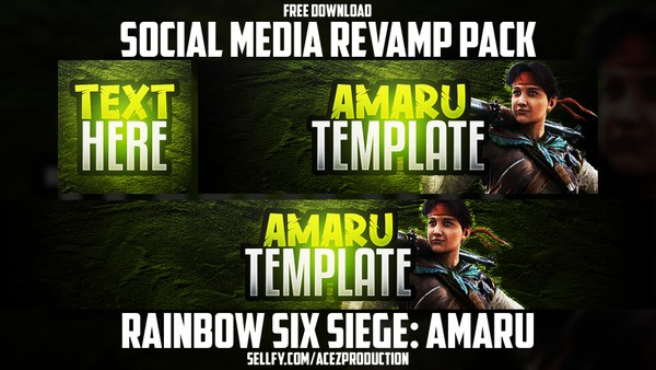 Rainbow Six Siege Amaru - Social Media Revamp Pack - YouTube Banner, Twitter Header & Avatar