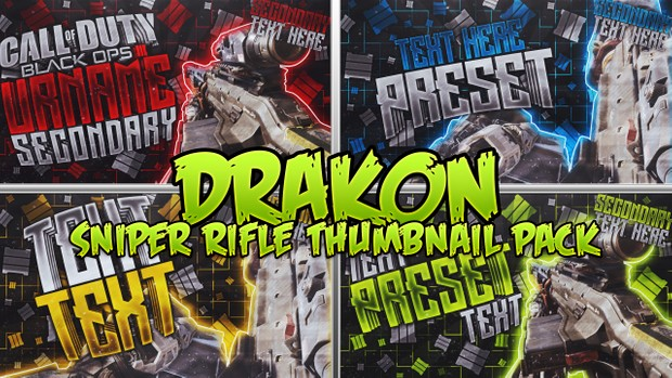 Drakon Sniper Rifle Thumbnail Template Pack - Call of Duty: Black Ops III