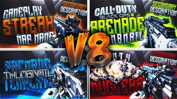 Black Ops 3 Thumbnail Template Pack V8 - Pubstomping Edition