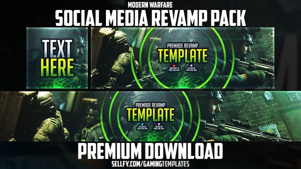 Modern Warfare - Social Media Revamp Pack #2 - YouTube Banner, Twitter Header & Avatar