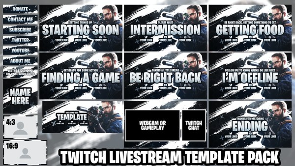 Twitch Live Stream Essentials Template Pack - COD Modern Warfare - Photoshop Template