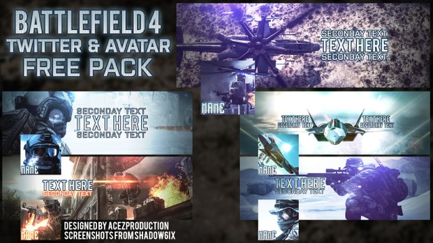 BF4 5x Header and Avatar Pack - Twitter Template PSD