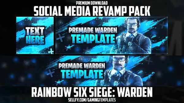 Rainbow Six Siege Warden - Social Media Revamp Pack - YouTube Banner, Twitter Header & Avatar