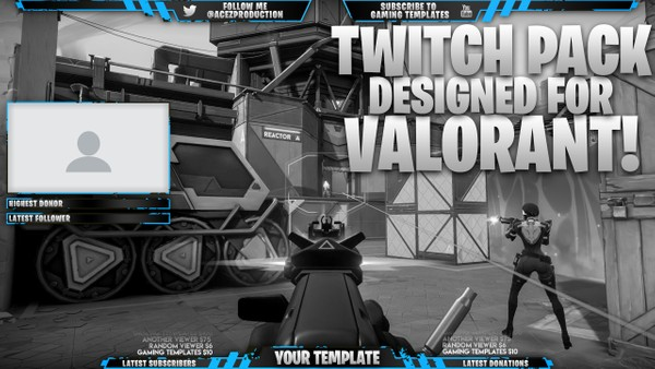 Valorant Live Stream Overlay Template Pack - Photoshop Template