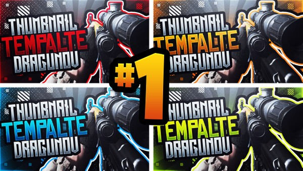Modern Warfare YouTube Thumbnail Template Pack #1 - Dragunov Sniper Rifle Edition