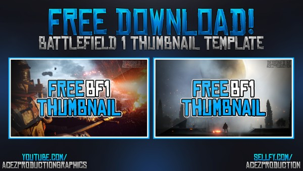 Battlefield 1 YouTube Thumbnail Template Pack - Free Photoshop Template