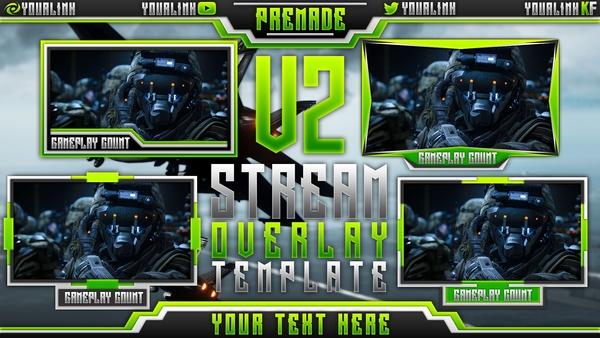 Stream Overlay Pack V2 - Twitch/Streaming Template PSD
