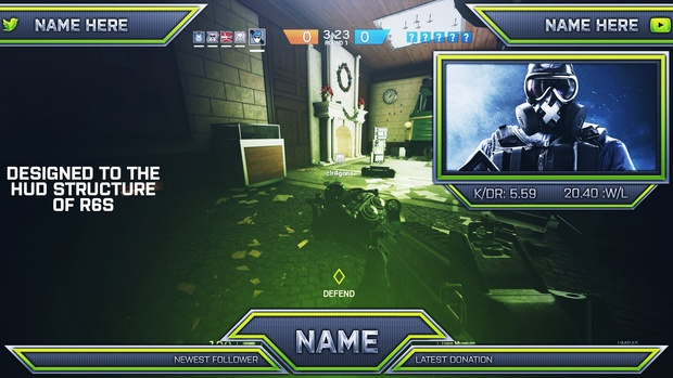 Ultimate Customizable Twitch Live Stream Template Pack V3 - Rainbow Six Siege Themed