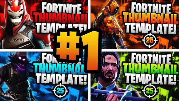Fortnite YouTube Thumbnail Template Pack #1 - Photoshop Template