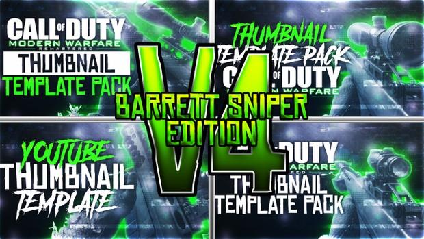 Modern Warfare Remastered - Barrett Sniper Rifle Edition - Thumbnail Template Pack V4 - Photoshop