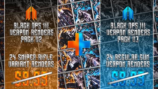 All Black Ops 3 Weapon Transparency Renders Bundle Pack (V2+V3)