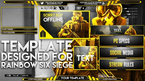 Ultimate Live Stream Overlay Template Pack - Rainbow Six Siege - Photoshop Template - Volume 7