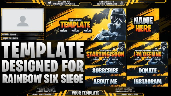 Ultimate Twitch Live Stream Essentials Template Pack - Rainbow Six Siege - Photoshop Template