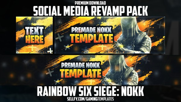 Rainbow Six Siege Nokk - Social Media Revamp Pack - YouTube Banner, Twitter Header & Avatar