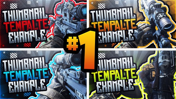 Black Ops 4 Sniper Rifle YouTube Thumbnail Template Pack - Photoshop Template