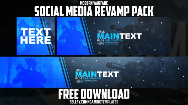 Modern Warfare - Free Social Media Revamp Pack #2 - YouTube Banner, Twitter Header & Avatar