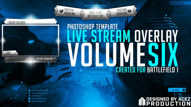 Live Stream Overlay Template Pack V6 - Battlefield 1 - Photoshop Template