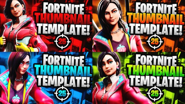Fortnite YouTube Thumbnail Template Pack - Rox - Photoshop Template