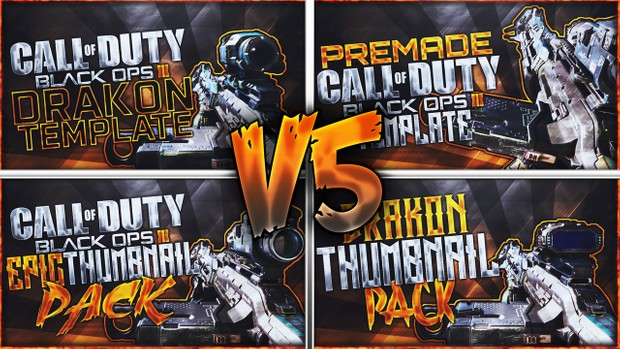 Black Ops 3 Thumbnail Template Pack V5 - Drakon Sniper Rifle Edition