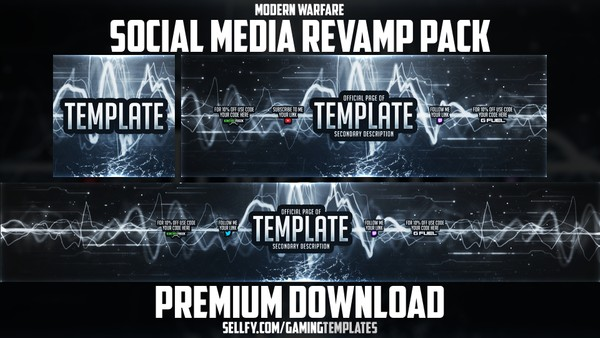 Modern Warfare - Social Media Revamp Pack #3 - YouTube Banner, Twitter Header & Avatar