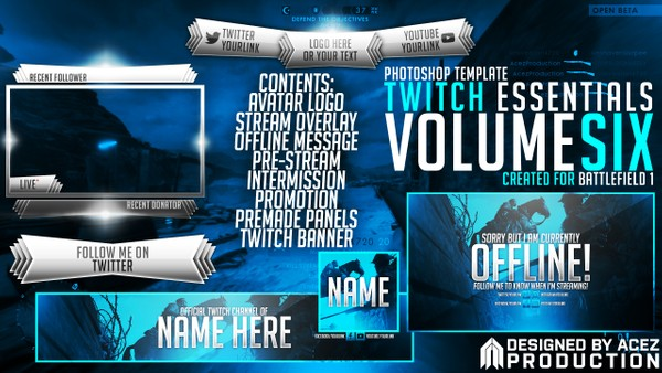 Twitch Essentials Pack V6 - Battlefield 1 Edition - Premade Template