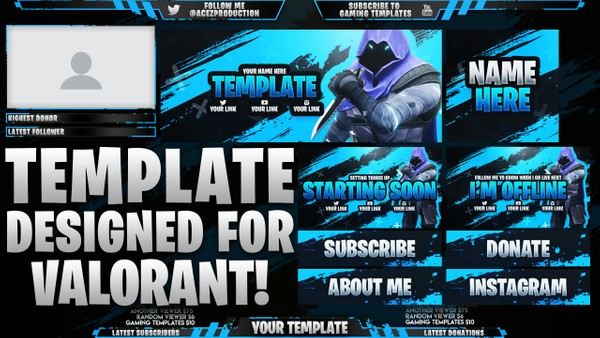 Valorant Ultimate Twitch Live Stream Essentials Template Pack - Photoshop Template
