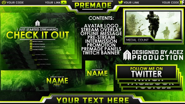 Twitch Essentials Pack - Modern Warfare Remastered Edition - Photoshop Template