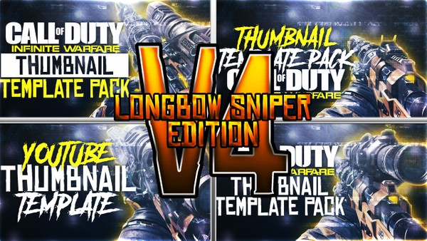Infinite Warfare - KBS Longbow Sniper Rifle Edition - Thumbnail Template Pack V4 - Photoshop