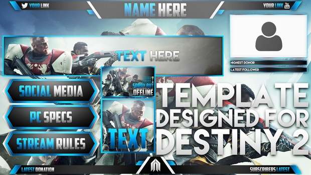 Ultimate Live Stream Overlay Template Pack - Destiny 2 - Photoshop Template - Volume 9
