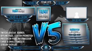 Ultimate Customizable Twitch Live Stream Template Pack V5 - Photoshop Template