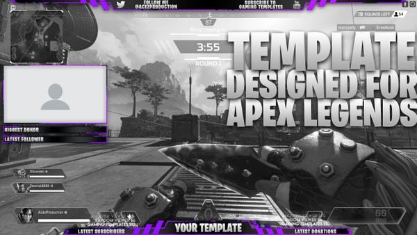 Live Stream Overlay Template Pack - Apex Legends - Photoshop Template