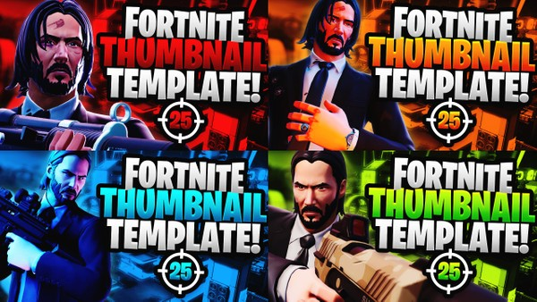 Fortnite YouTube Thumbnail Template Pack - John Wick - Photoshop Template
