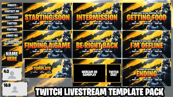 Twitch Live Stream Essentials Template Pack - Rainbow Six Siege - Photoshop Template