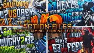 Action Files Pack V2 - Lucky 7 Gaming Thumbnail Edition - Photoshop Template