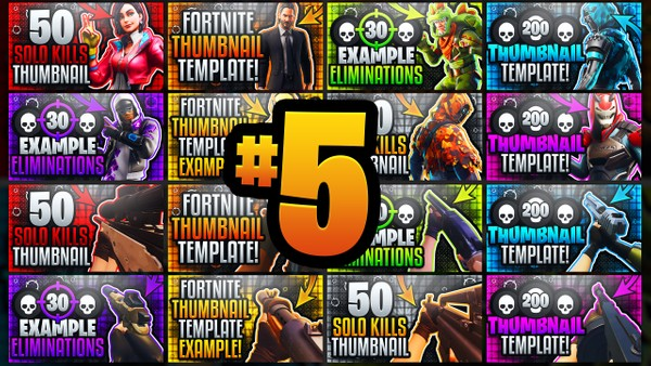 Ultimate Fortnite YouTube Thumbnail Template Pack #5 - 1st Person Gun & Outfits - Photoshop Template