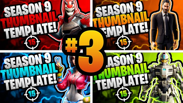 Fortnite Season 9 YouTube Thumbnail Template Pack #3 - Photoshop Template