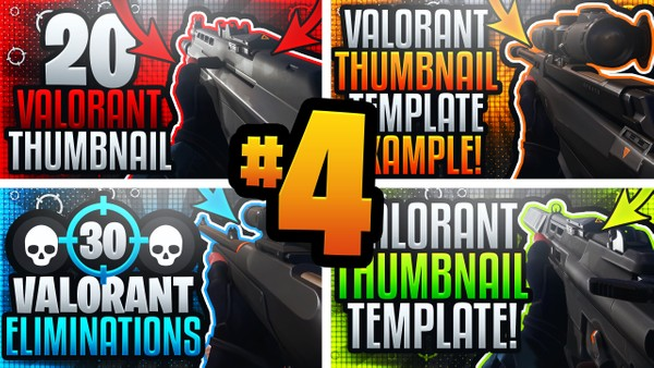 Valorant YouTube Thumbnail Template Pack #4 - Ultimate Gameplay Thumbnail Template