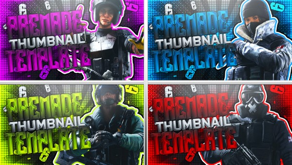 YouTube Thumbnail Template Pack - Rainbow Six Siege Operators - Photoshop Template