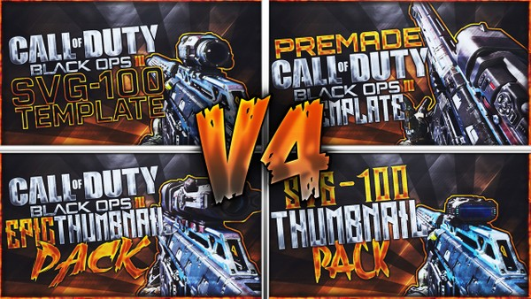 Black Ops 3 Thumbnail Template Pack V4 - SVG-100 Sniper Rifle Edition