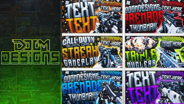 Black Ops 3 Thumbnail Template Pack - Pubstomping Edition - Updated