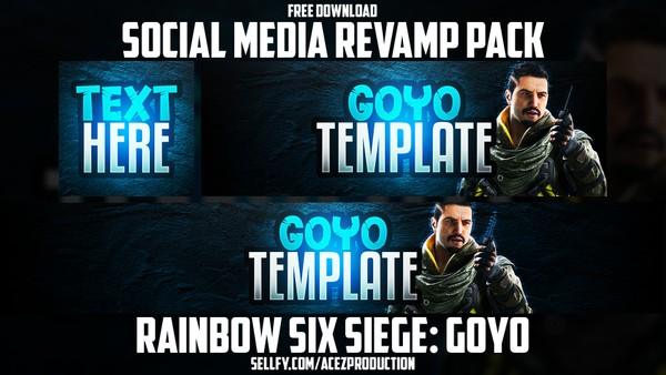 Rainbow Six Siege Goyo - Social Media Revamp Pack - YouTube Banner, Twitter Header & Avatar