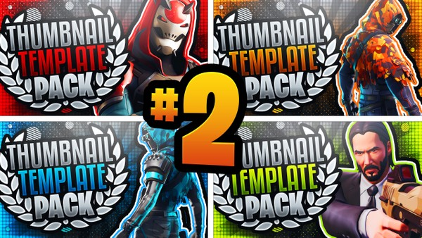 Fortnite YouTube Thumbnail Template Pack #2 - Photoshop Template