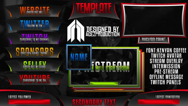 Ultimate Twitch Live Stream Template Pack V1