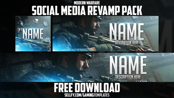 Modern Warfare - Free Social Media Revamp Pack - YouTube Banner, Twitter Header & Avatar