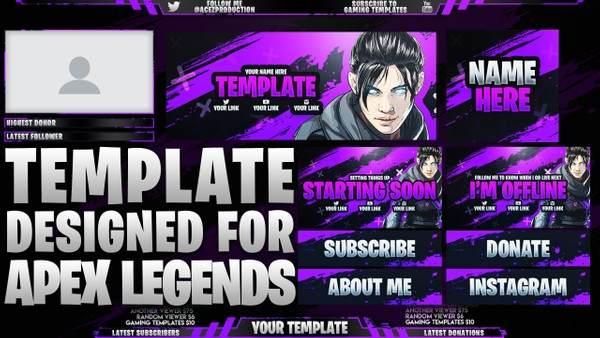 Ultimate Twitch Live Stream Essentials Template Pack - Apex Legends - Photoshop Template