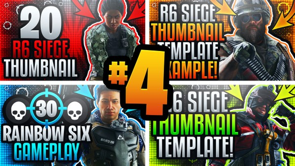 Rainbow Six Siege YouTube Thumbnail Template Pack #4 - Ultimate Gameplay Thumbnail Template