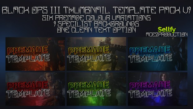 Black Ops 3 Thumbnail Template Pack V9 - Clean & Simple Edition