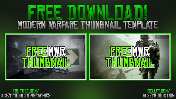 Modern Warfare Remastered YouTube Thumbnail Template Pack - Free Photoshop Template