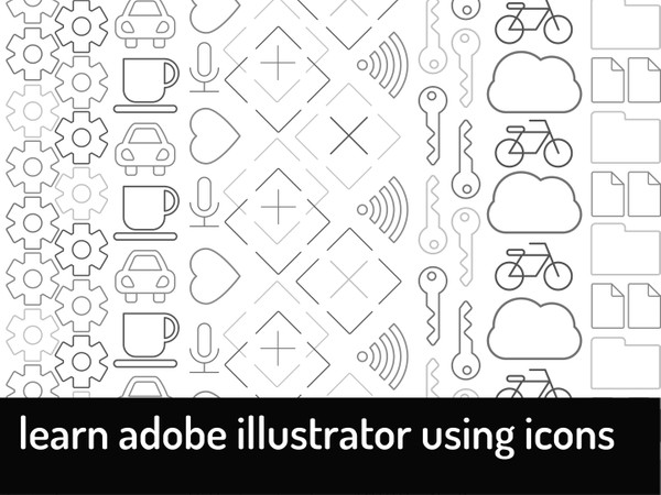 Learn Adobe Illustrator Using Icons (SAMPLE: B&W)